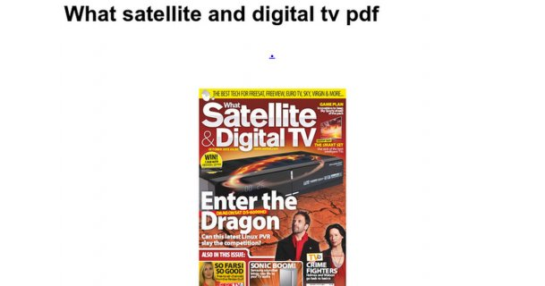What satellite and digital tv